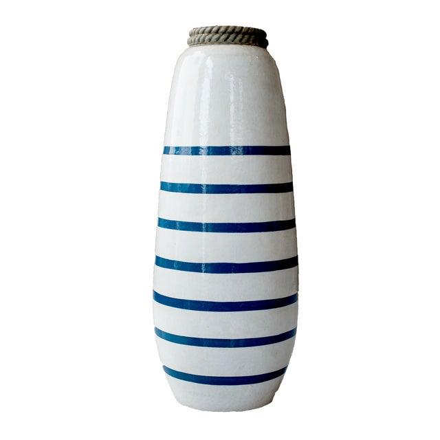 Image of Navy Blue & White Striped Anchor Vase