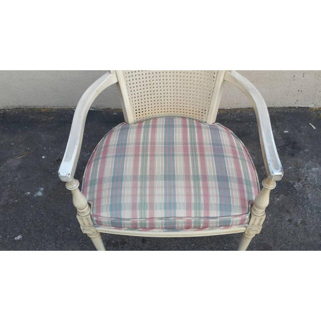 Hollywood Regency Style White Cane Arm Chair - Image 2 of 5