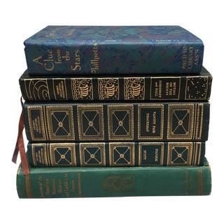 Vintage Blue & Turquoise Books - Set of 5