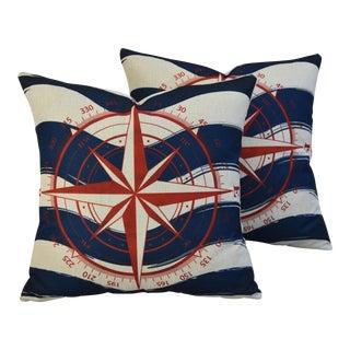 """17"""" Nautical Beach Compass Linen Pillow Covers - Pair"""