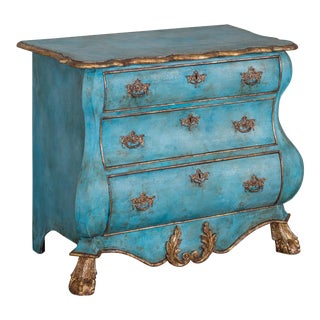 Dutch Painted and Gilded Oak Bombé Commode Chest of Drawers, Holland circa 1850