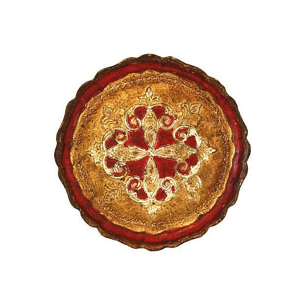 Image of Vintage Italian Red & Gold Florentine Tray
