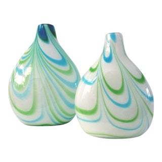 Blue & Green Blown Glass Swirl Vases - a Pair