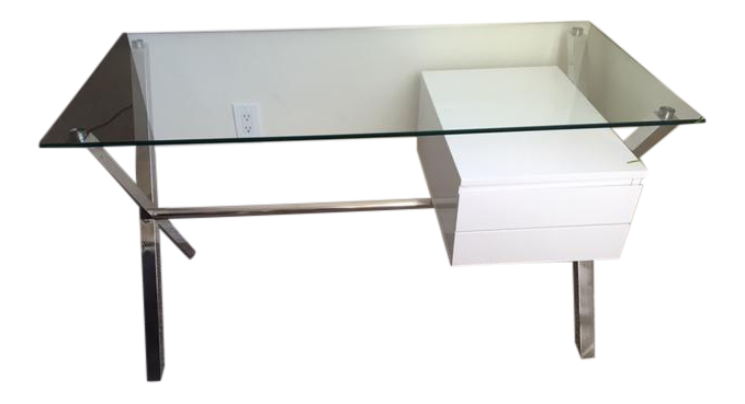 modern desk with floating drawers