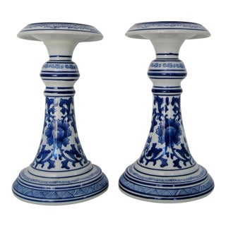 Chinese Porcelain Candlesticks - A Pair