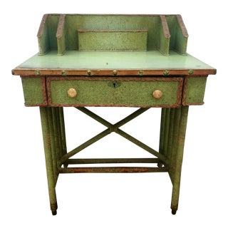 Distressed Woven Writing Desk
