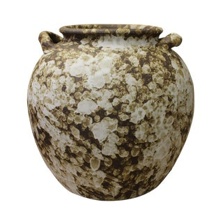 Ceramic Rough White Brown Dimensional Marks Vase Jar cs2618