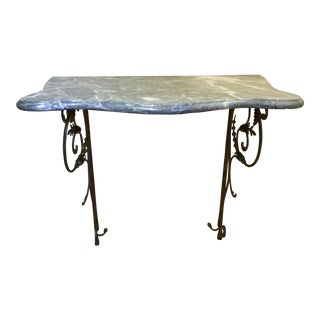 Wrought Iron Marble Topped Demilune Wall Hanging Table