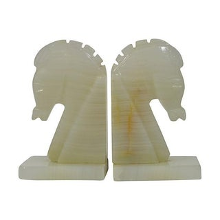 Greek Horse Onyx Bookends- A Pair