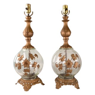 Italian Glass & Brass Table Lamps - Pair