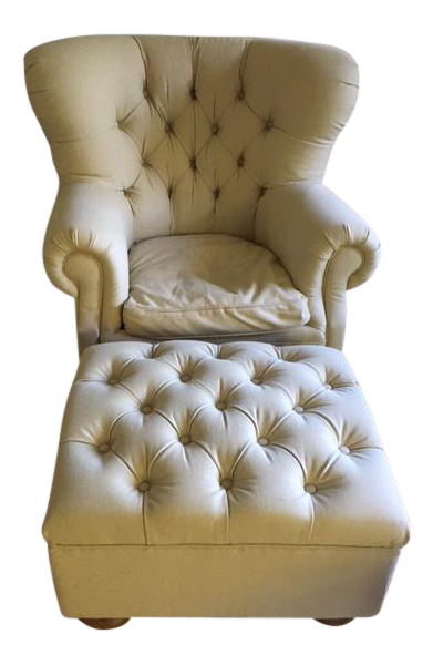 Restoration Hardware Churchill Upholstered Chair And Ottoman   Image 1 Of 7