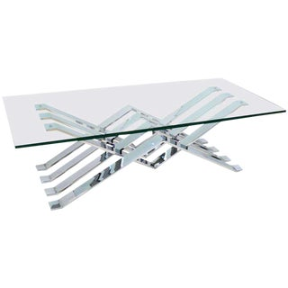 Chrome and Glass Zig-Zag Coffee Table
