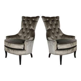 Ultra Chic Pair of Mid-Century Modern Tufted High-Back Chairs