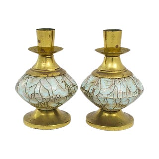 Delft Candleholders - A Pair