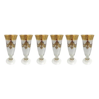 Murano Glass Champagne Flutes - Set of 6