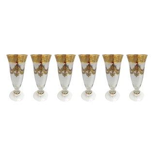 Murano Glass Champagne Flutes - Set of 6