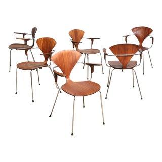 Cherner Metal & Walnut Chairs - Set of 6