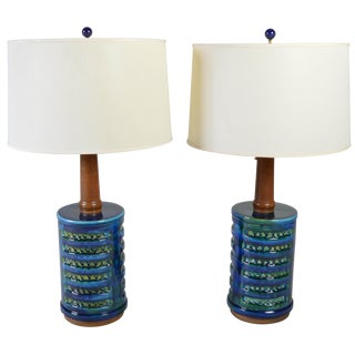Mid-Century Drip Glaze Porcelain Table Lamps - A Pair