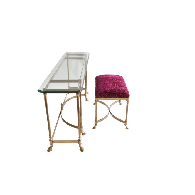 Vintage Baker Glass Topped Library Table and Bench - Image 4 of 4