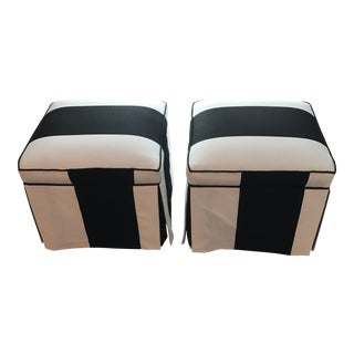 Striped Upholstered Stools - A Pair