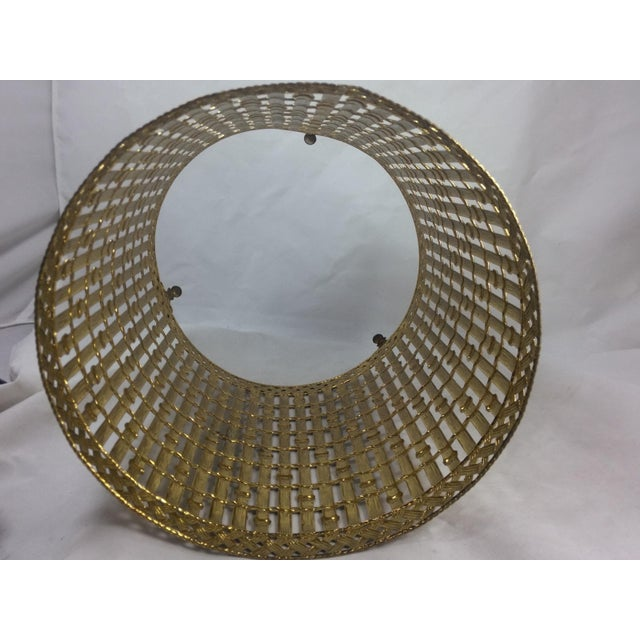 Gold Filigree Chinoiserie Faux Bamboo Waste Basket - Image 6 of 8