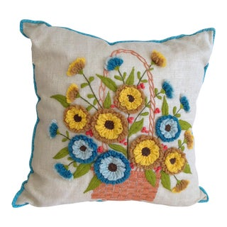 Embroidered Linen Accent Pillow