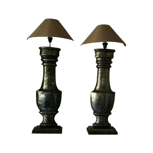 European Zinc Demi-Lamps - Pair - Image 1 of 7