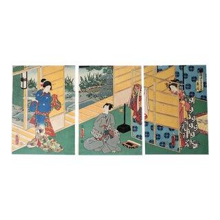 Japanese Wood Block by Utagawa Kunisada Lll, Triptych 1786-1865
