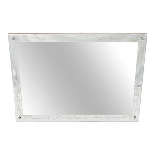 Vintage Mid Century Frameless Bevelled Etched Glass Wall Mirror