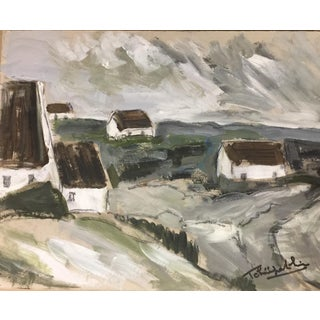 French Impressionistic Brittany Landscape Oil on Paper