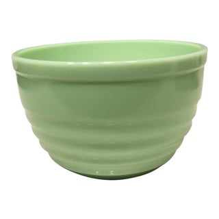 Large Ribbed Jadeite Green Mixing Bowl