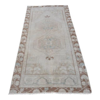 Vintage Turkish Handmade Beige Runner - 3′2″ × 7′1″