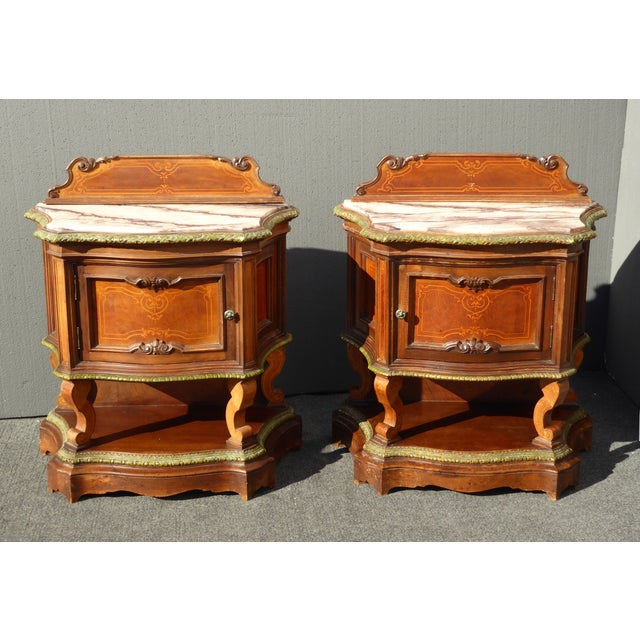 Image of Antique White Marble Top Nightstands - A Pair