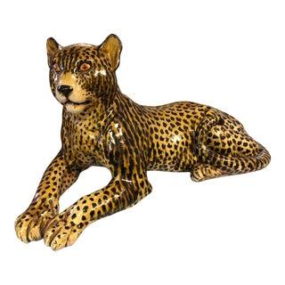 Mid Century Large Italian Terra Cotta Leopard