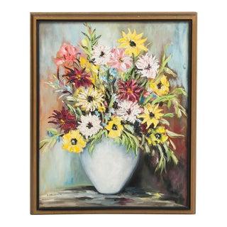 Framed Still Life Floral Oil Painting