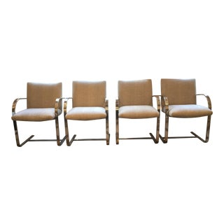 Vintage Curved Chrome Leg Accent Chairs - Set of 4