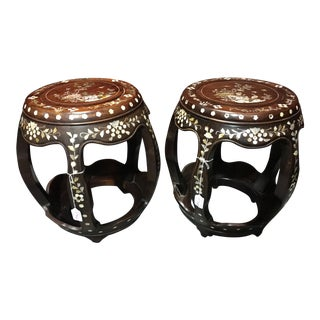 Rosewood Mother of Pearl Garden Stools - A Pair