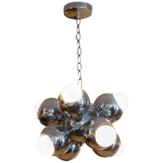 Midcentury Eight-Light Chrome Sputnik Chandelier