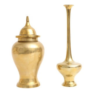 Brass Ginger Jar and Bulb Vase - Set of two