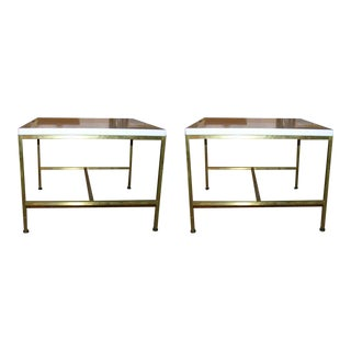 Paul McCobb White Glass Top Occasional Tables - a Pair