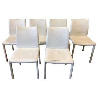 White Pebbled Leather Dining Chairs - Set of 6