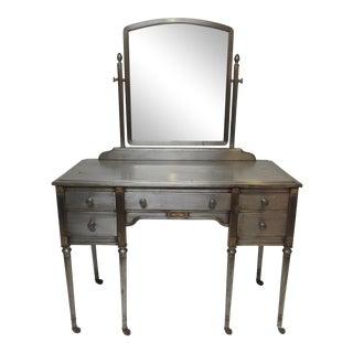 Vintage Industrial Brushed Steel Vanity With Mirror
