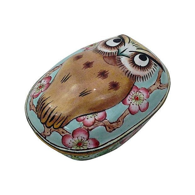 Cantonese Hand-Painted Enamel Owl Box - Image 7 of 7