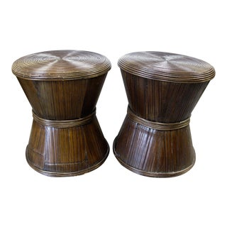 Vintage Reed Bamboo Stools / Side Tables - a Pair