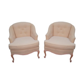 French Louis XV Barrel Back Lounge Chairs - Pair