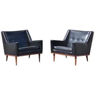 Milo Baughman Black Lounge Chairs - a Pair