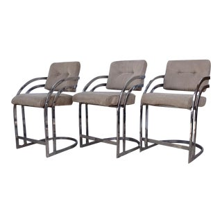 Milo Baughman Cantilevered Chrome Stools - Set of 3