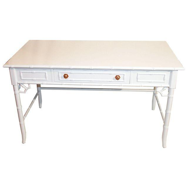 Thomasville Vintage Faux-Bamboo White Desk - Image 3 of 9