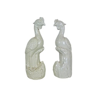 Vintage 1960s White Ceramic Peacocks - A Pair