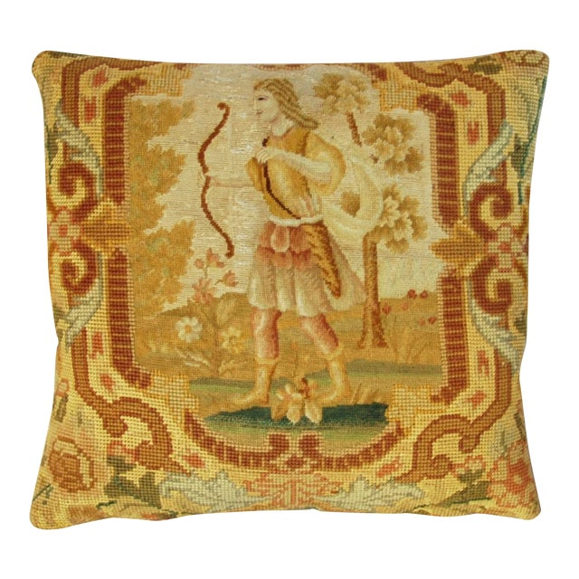Antique French Needlepoint Pillow - Image 1 of 11